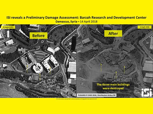 Сирийский исследовательский центр в Барзе: до и после ракетного удара