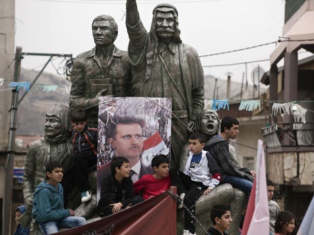 Демонстрация в поддержку Башара Асада в Мадждаль Шамсе