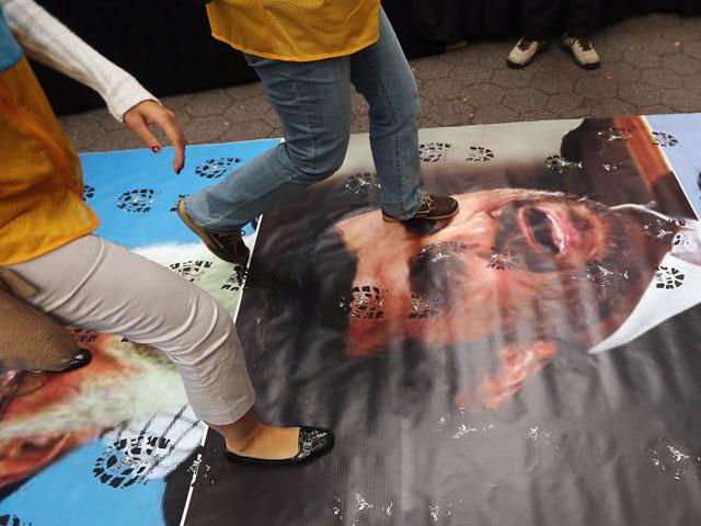 Акция протеста против визита Ахмадинеджада в Нью-Йорк. Сентябрь 2012 года