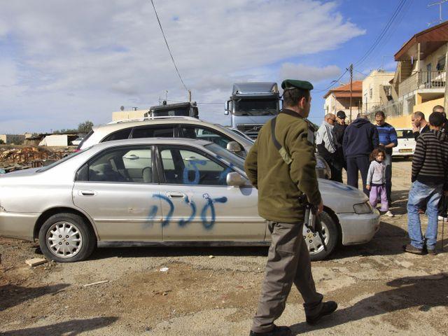 """Надпись """"Газа так мехир"""" на автомобиле в Шуафате. 25.11.2012"""