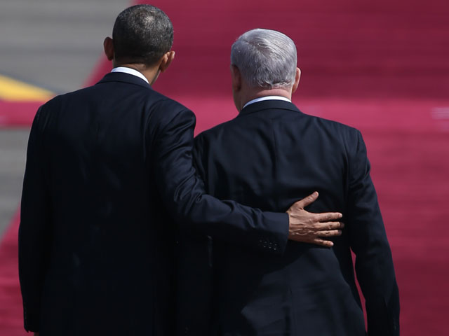 "Барак Обама и Биньямин Нетаниягу. ""Бен-Гурион"", 20 марта 2013 года"