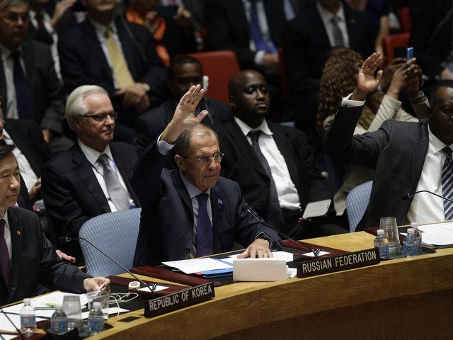 Глава МИД РФ Сергей Лавров  на голосовании в СБ ООН по сирийскому химоружию. 27.09.2013