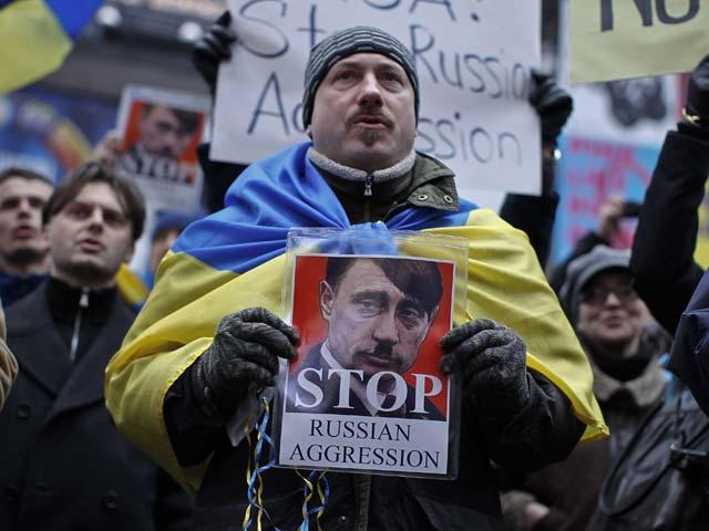 Акция против вторжения российских войск в Крым. Нью-Йорк, 2 марта 2014 года