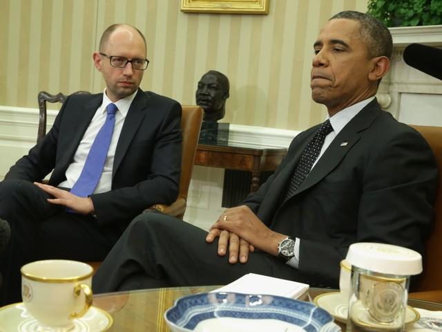 Премьер-министр Украины Арсений Яценюк и президент США Барак Обама