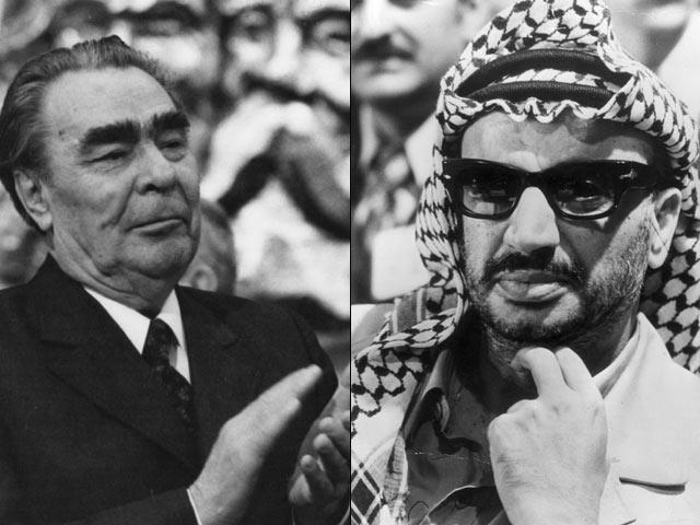 Генсек КПСС Леонид Брежнев и председатель ООП Ясир Арафат в середине 70-х