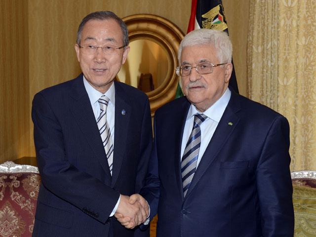 Пан Ги Мун и Махмуд Аббас в Катаре 20 июля 2014 года