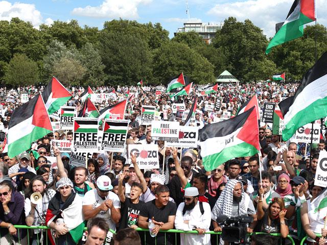 Антиизраильский митинг в Лондоне 9 августа 2014 года