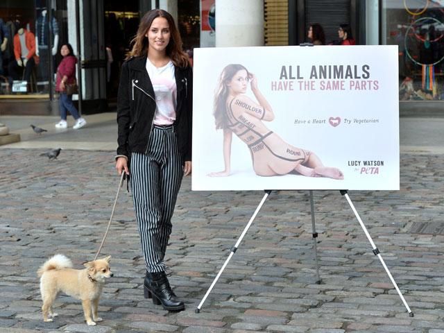 Люси Уотсон на презентации PETA 1 октября 2014 года