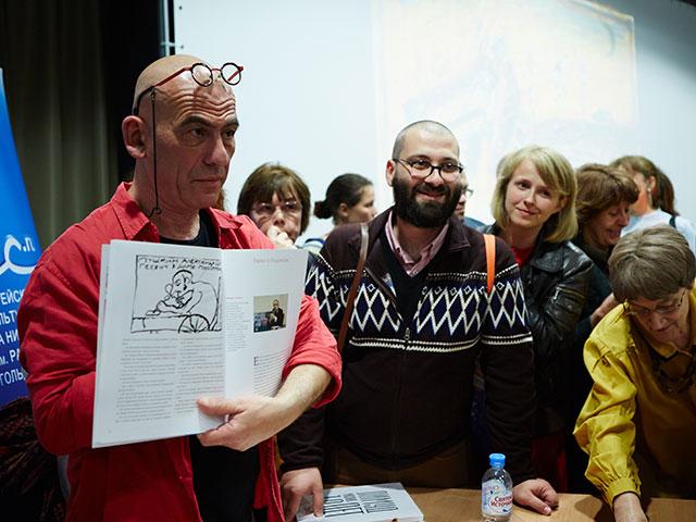 Саша Галицкий на выставке в Москве