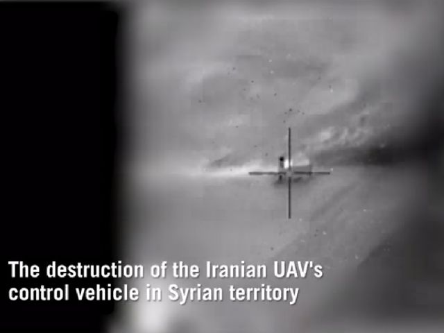 Иранский мобильный пункт управления БПЛА (за секунды перед уничтожением). 10 февраля 2018 года