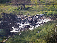 Обломки F-16, упавшего на территории кибуца Хардуф