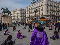 Акция феминисток в Мадриде. 8 марта 2021 года