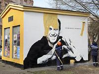 Закрашивание граффити с Навальным в Петербурге. 28 апреля 2021 года