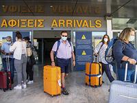В международном аэропорту Никоса Казандзакиса в Ираклионе (Крит, Греция)