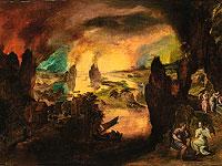 """Картина Гиллиса Мостарта """"Лот и его дочери, ведомые ангелами"""""""
