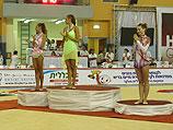 Дарья Дмитриева, Евгения Канаева и Ирина Рисензон на пьедестале почета. Холон, 4 сентября 2010 года