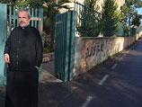 Последствия действий вандалов в иерусалимском монастыре Креста. 12 декабря 2012 года