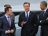 Генсек NATO Андерс Фог Расмуссен, премьер-министр Великобритании Дэвид Кэмерон и президент США Барак Обама. Ньюпорт, 05.09.2014