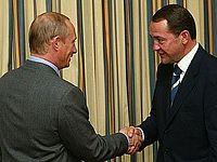 Владимир Путин и Михаил Лесин, 2002 год